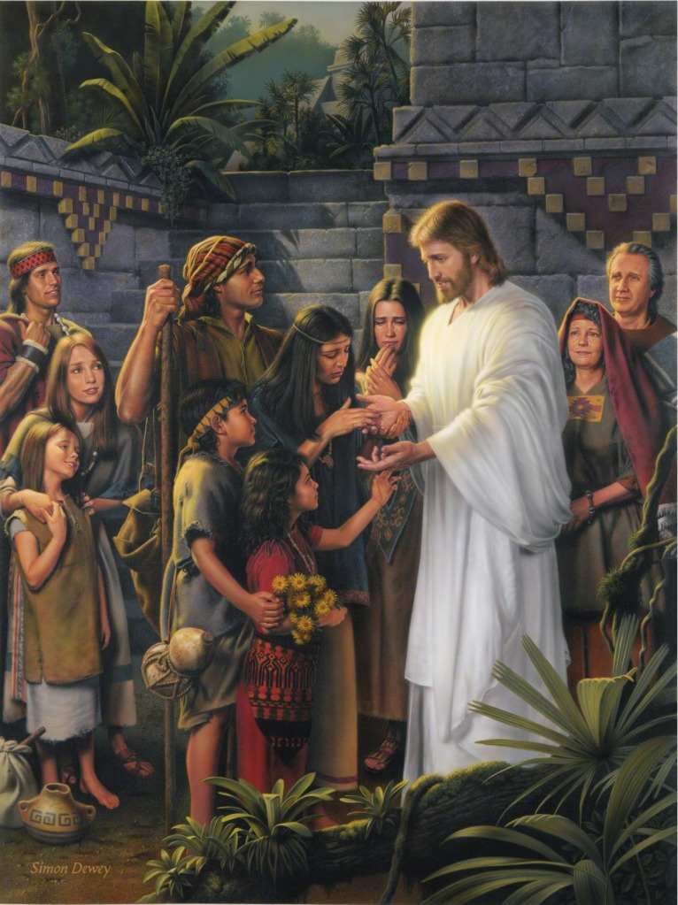 Christ in the Land Bountiful, by Simon Dewey (https://www.lds.org/media-library/images/christ-land-bountiful-174607?category=gospel-art/book-of-mormon&lang=eng)